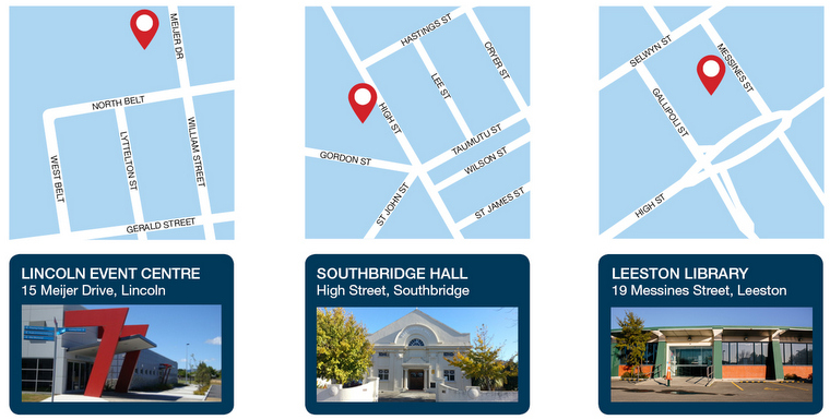 Maps showing locations of centres