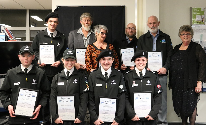 The recipients of the Malvern Community Board Community Service Awards 2019, from left to right, back row:   Samuel Ireland, Mike Davies, Carol Gurney, Craig Moody, Errol Ashby and Malvern Community Board Chair Jenny Gallagher.   Front row: Bailey Inwood, Daisy Prosser, Rebecca Inch and Jenny Walter.