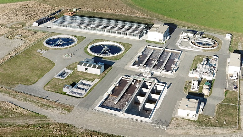 Aerial view of Pines Waste Water Plant