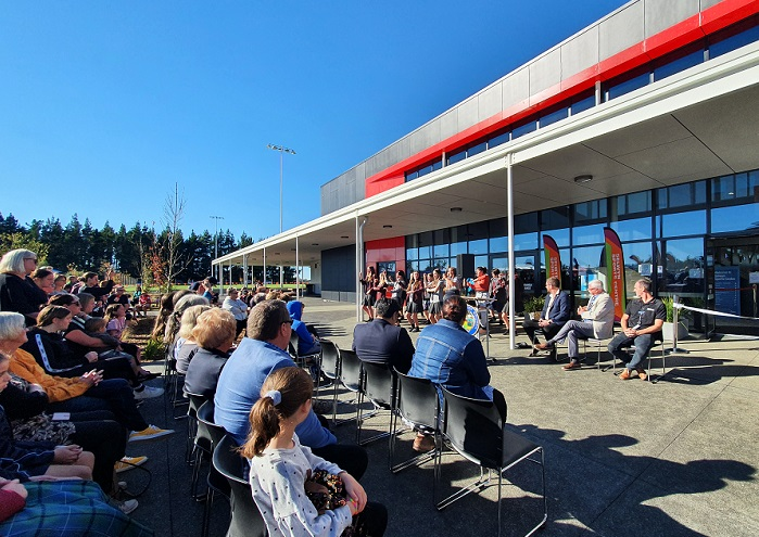 A crowd watch the Selwyn Combined Colleges Kapa Haka group perform at the opening of the Selwyn Sports Centre