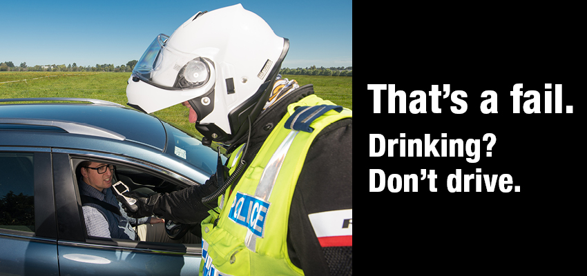 Drinking? Don't Drive - police officer and driver