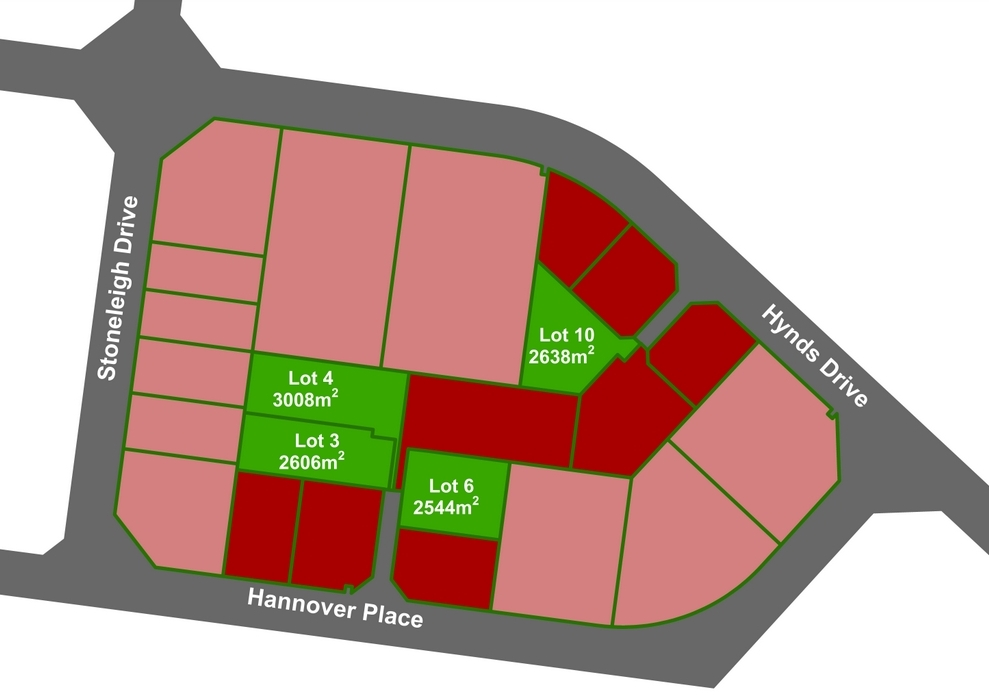 Showing locations and sizes of lots 3, 4, 6 and 10, which are available