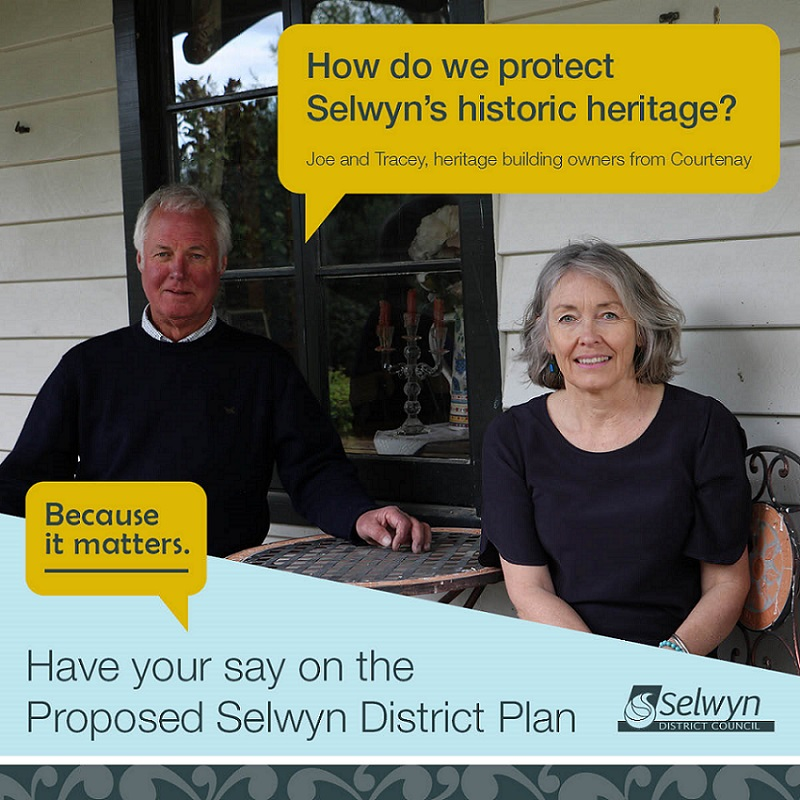 A couple sitting at an outside table on a deck with a speech bubble saying 'how do we protect Selwyn's historic heritage?