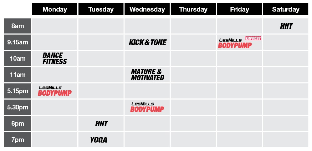 Shows class times per day for all classes, see PDF link for text details
