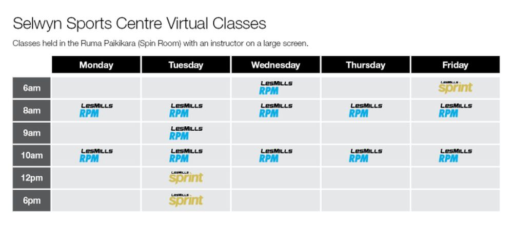 Selwyn Sports Centre Group Fitness Virtual Timetable Term 3