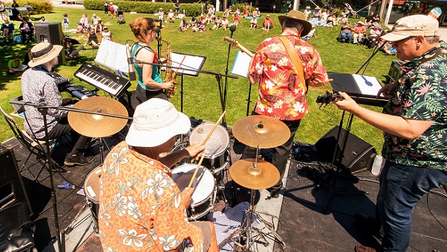 A band plays to a crowd on a sunny lawn