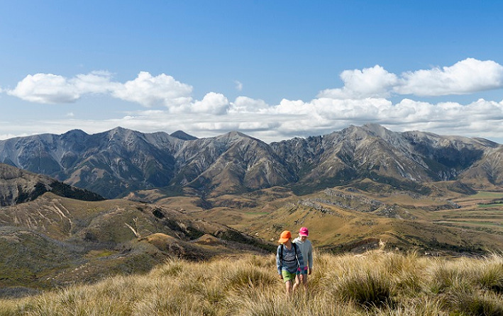 Landscape of mountain scene with two children walking through tussock