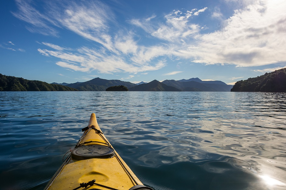 Image of the Marlborough Sounds from in a kayak
