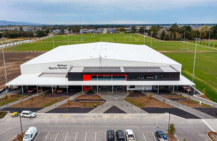 Aerial image of the Selwyn Sports Centre with Foster Park fields behind and around
