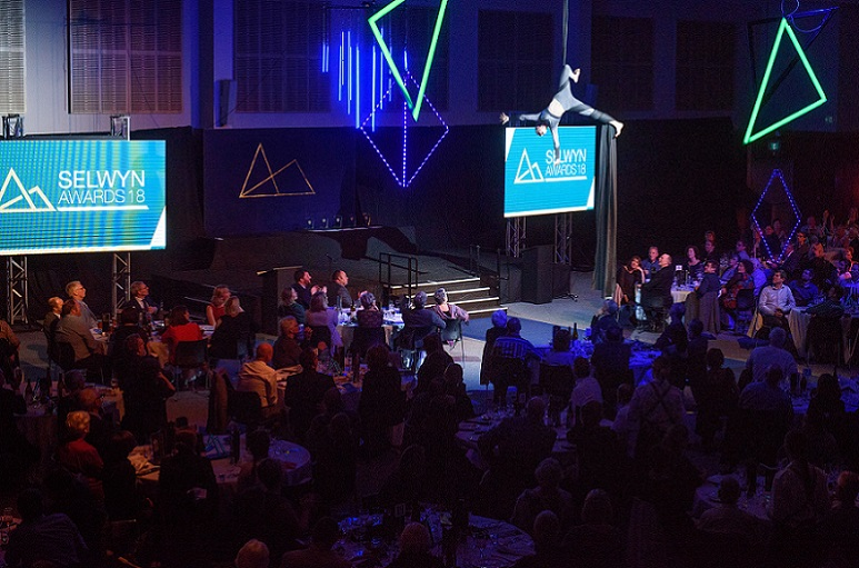 An acrobat performs at the Selwyn Awards 2018