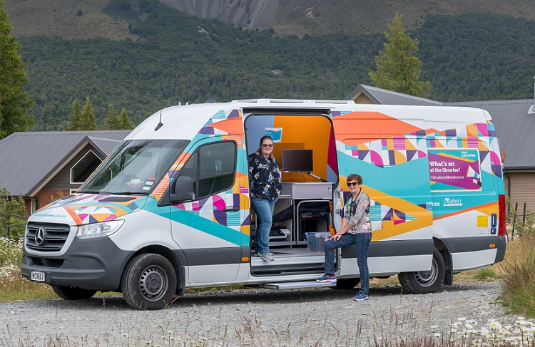 The mobile library parked in Arthur's Pass
