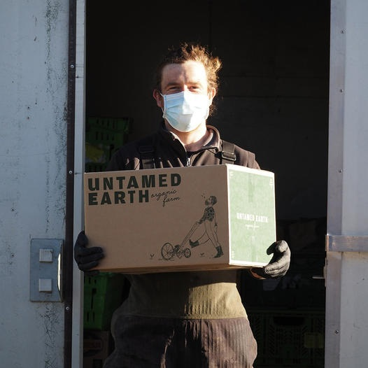 Man in a white face mask holding a cardboard box from Untamed Earth