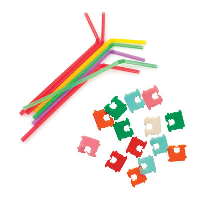 Image of straws and bread bag tags