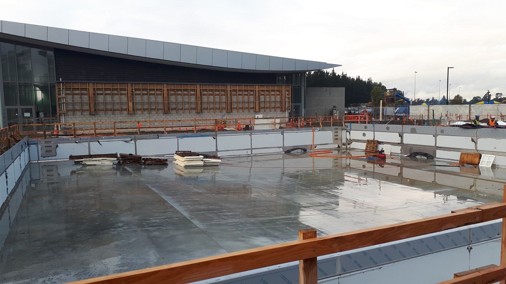 A view of the empty new pool under construction at the Selwyn Aquatic Centre