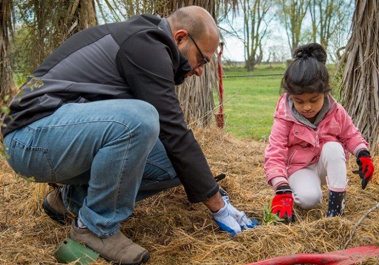 A father and daughter plant a tree together