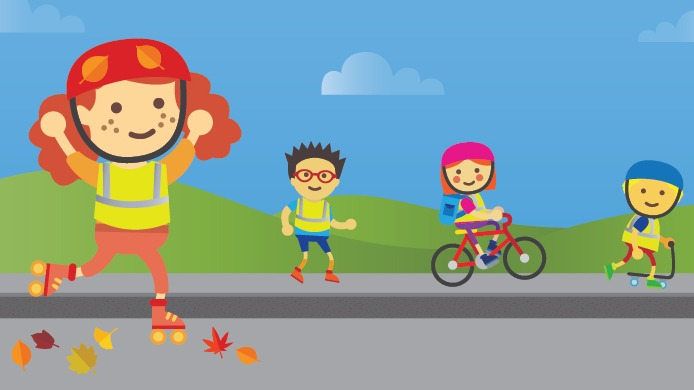 Cartoon of children skating, scootering and walking