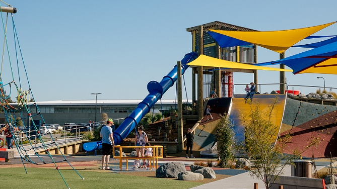 Families enjoy the foster Park playground