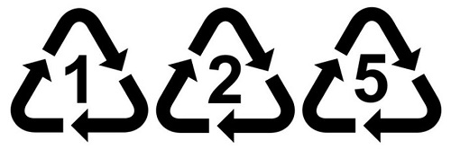 Image of plastic recycling triangle 1 2 5