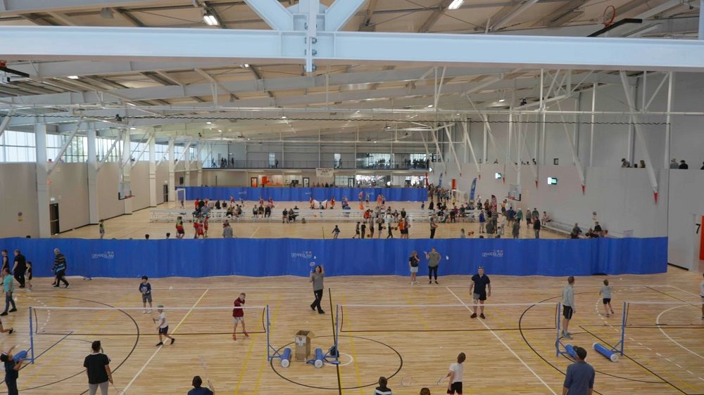 Hundreds of people using the John F Reid Courts at the opening of the Selwyn Sports Centre