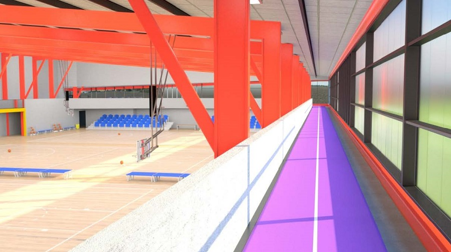 Image of a purple running track on a mezzanine over a sports court