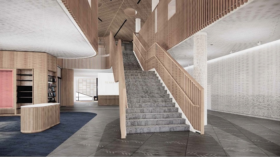 An artists impression of the foyer and stair case in Te Ara Atea