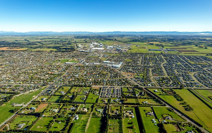 Aerial view of Rolleston looking towards the Alps