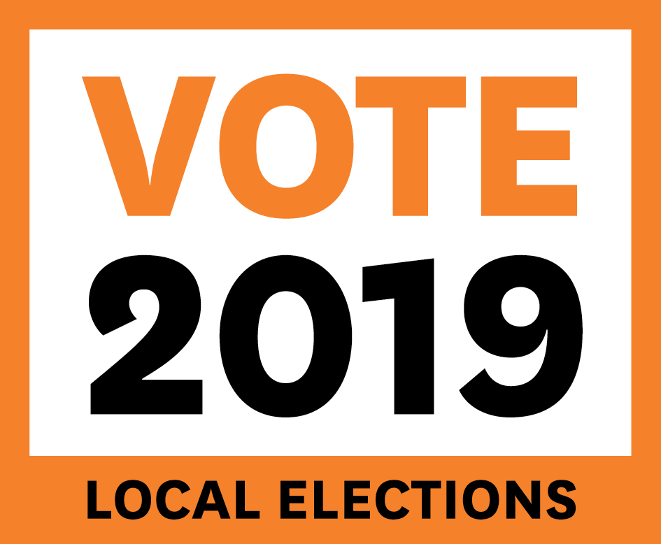 Orange  square logo saying Vote 2019 local elections