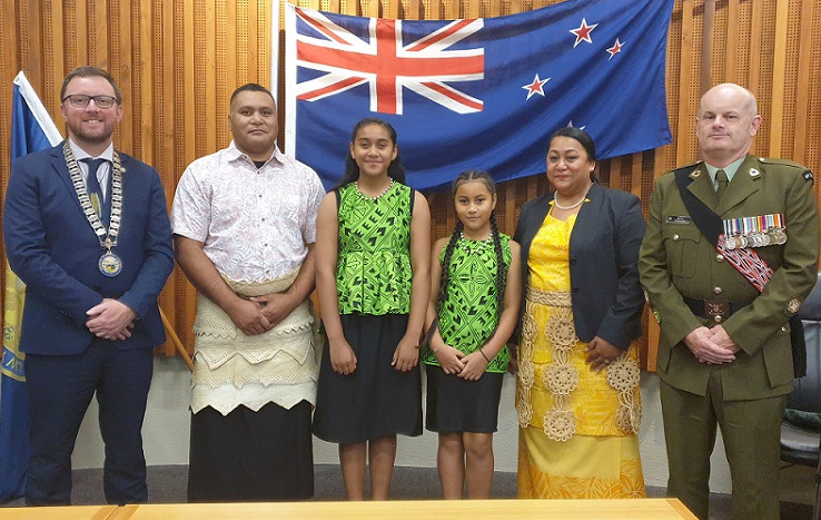 The Tomu family from Tonga with Mayor Sam Broughton and a representative from Burnham Military Camp at the citizenship ceremony