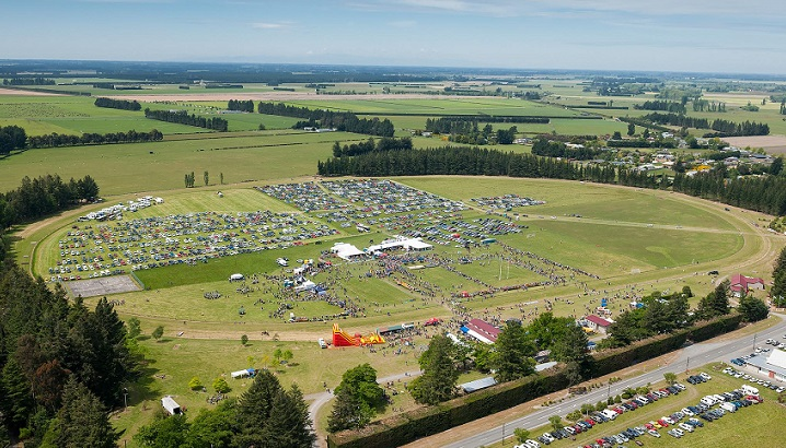 An aerial view of the Hororata Highland Games at the Hororata Reserve