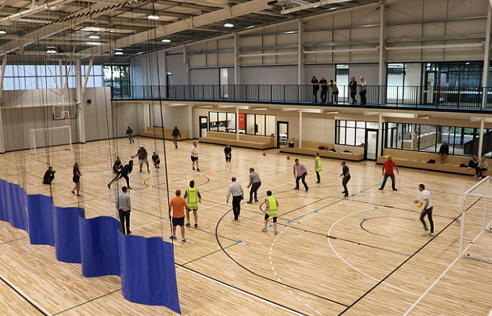 A group of people play dodgeball at the Selwyn Sports Centre