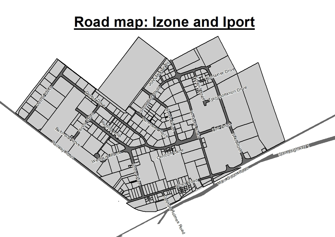 Road map of Izone and Iport areas