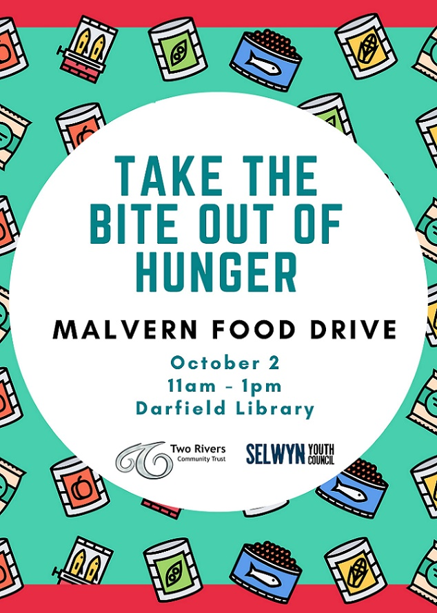 A sign for the Malvern Food Drive with details of when and where the drive is taking place