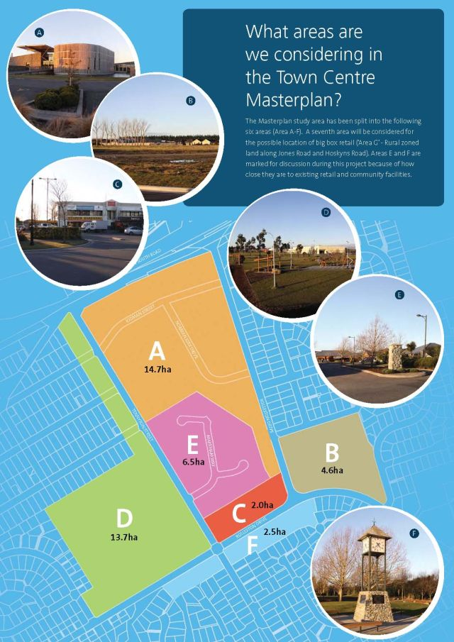 A visual indication of areas included in the Rolleston Town Centre Masterplan